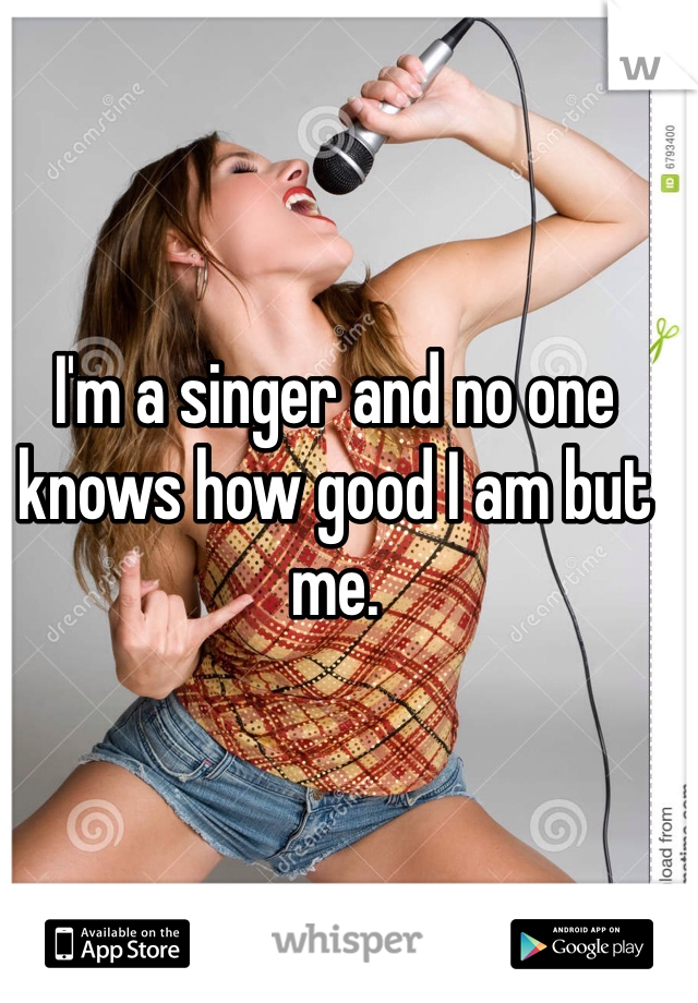 I'm a singer and no one knows how good I am but me.