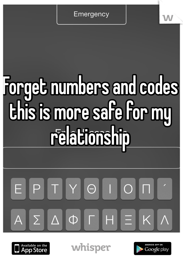 Forget numbers and codes this is more safe for my relationship