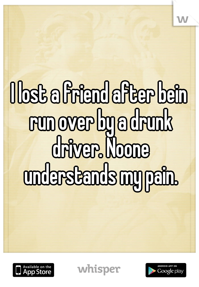 I lost a friend after bein run over by a drunk driver. Noone understands my pain.