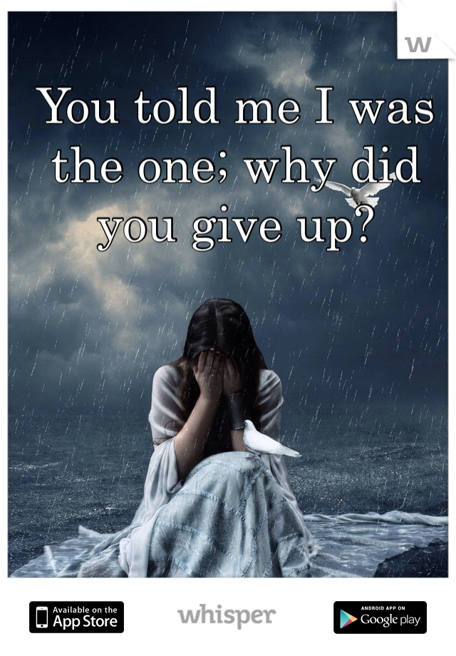 You told me I was the one; why did you give up?