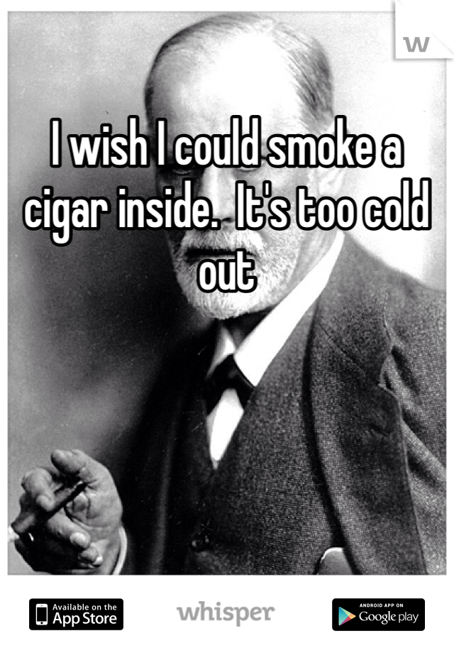 I wish I could smoke a cigar inside.  It's too cold out