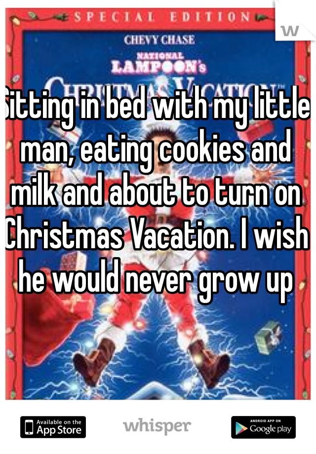 Sitting in bed with my little man, eating cookies and milk and about to turn on Christmas Vacation. I wish he would never grow up
