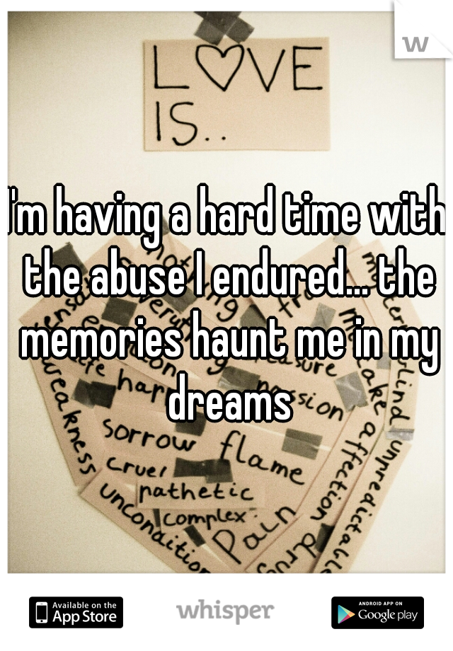 I'm having a hard time with the abuse I endured... the memories haunt me in my dreams