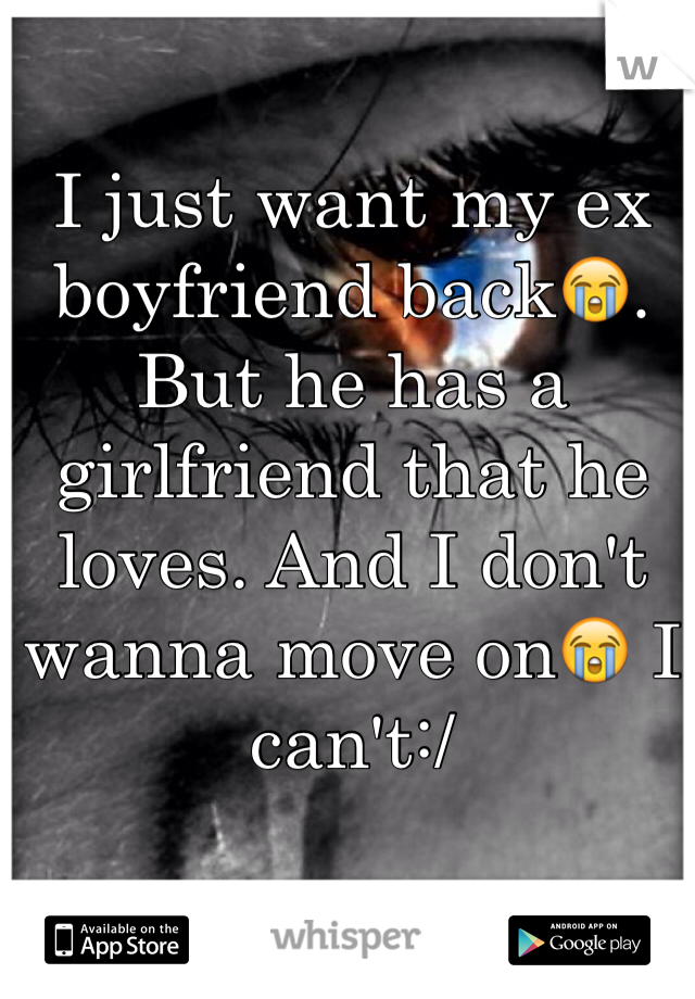 I just want my ex boyfriend back😭. But he has a girlfriend that he loves. And I don't wanna move on😭 I can't:/
