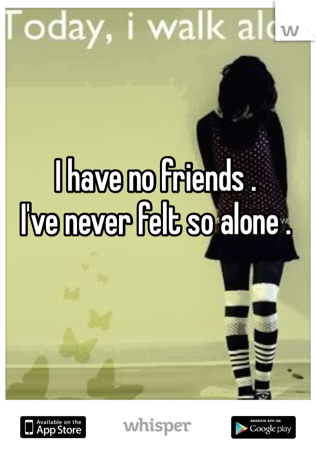 I have no friends .  I've never felt so alone .