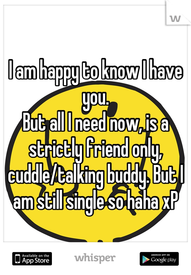 I am happy to know I have you. But all I need now, is a strictly friend only, cuddle/talking buddy. But I am still single so haha xP