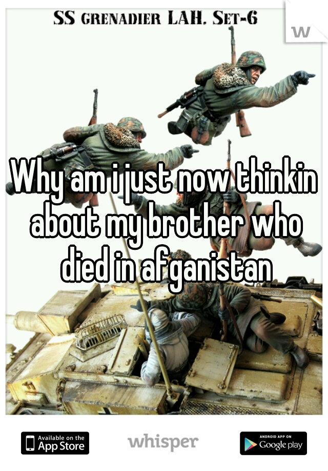 Why am i just now thinkin about my brother who died in afganistan