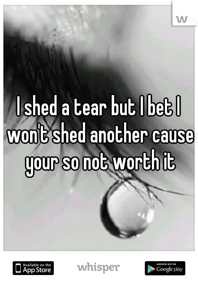 I shed a tear but I bet I won't shed another cause your so not worth it