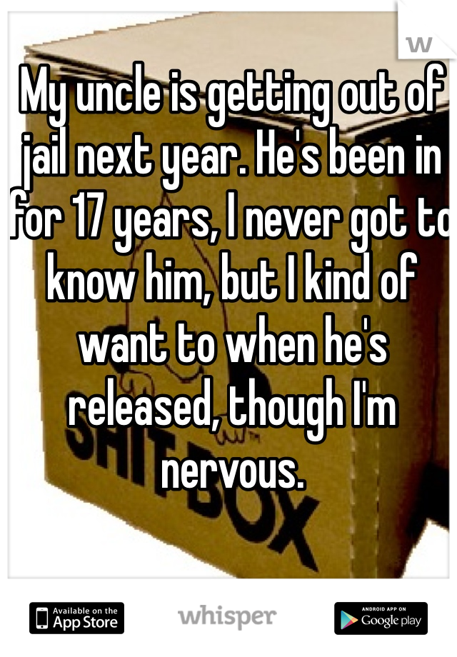 My uncle is getting out of jail next year. He's been in for 17 years, I never got to know him, but I kind of want to when he's released, though I'm nervous.