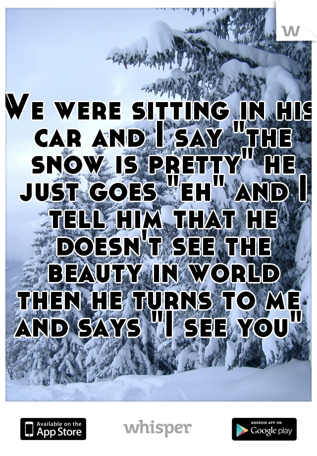 "We were sitting in his car and I say ""the snow is pretty"" he just goes ""eh"" and I tell him that he doesn't see the beauty in world  then he turns to me and says ""I see you"""