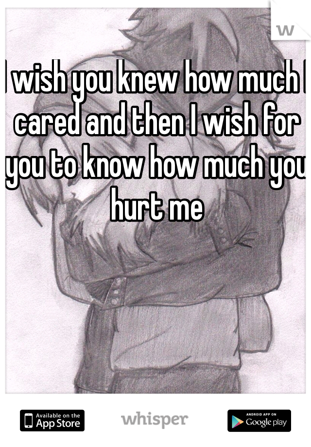 I wish you knew how much I cared and then I wish for you to know how much you hurt me