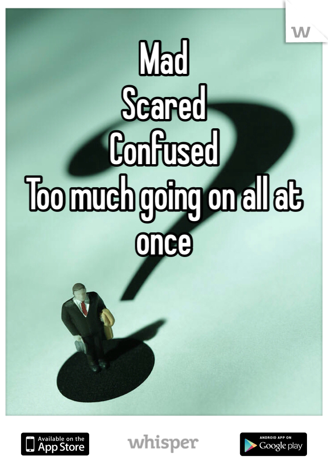 Mad Scared  Confused  Too much going on all at once