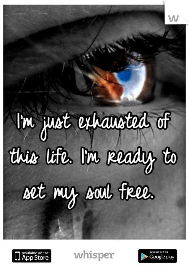 I'm just exhausted of this life. I'm ready to set my soul free.