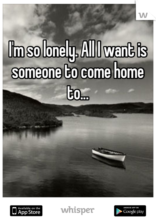 I'm so lonely. All I want is someone to come home to...
