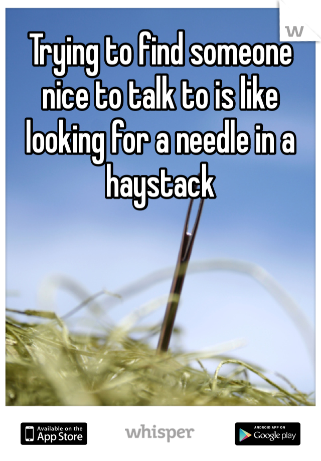 Trying to find someone nice to talk to is like looking for a needle in a haystack
