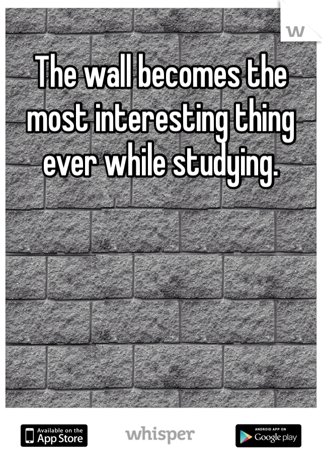 The wall becomes the most interesting thing ever while studying.