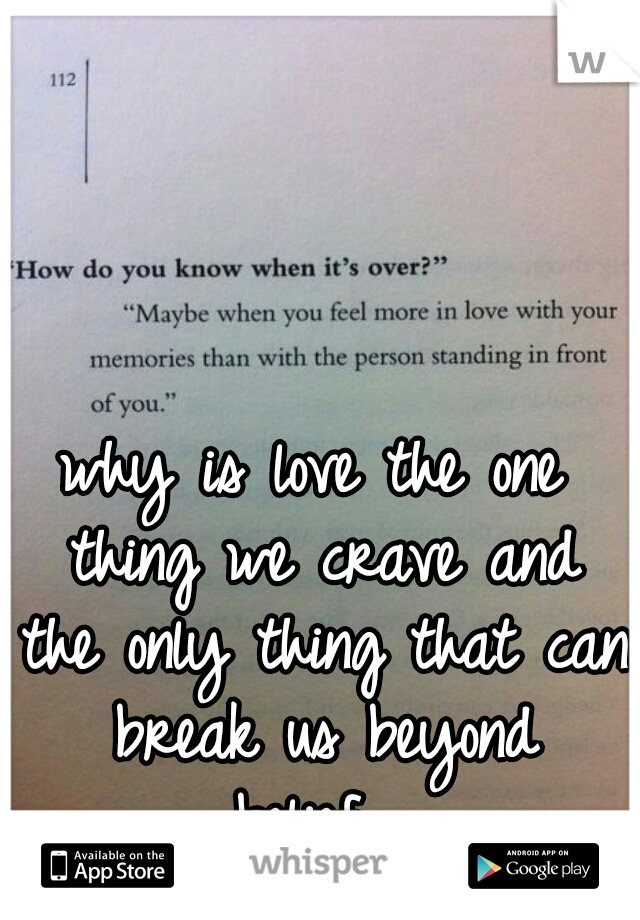 why is love the one thing we crave and the only thing that can break us beyond belief....