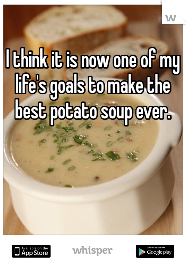 I think it is now one of my life's goals to make the best potato soup ever.