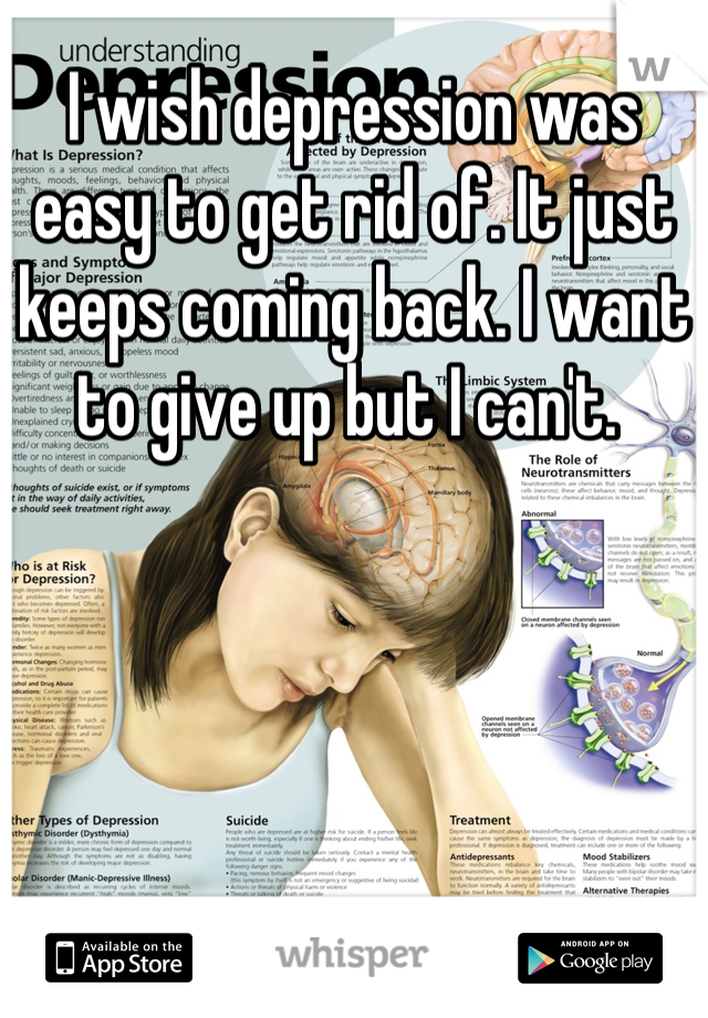 I wish depression was easy to get rid of. It just keeps coming back. I want to give up but I can't.