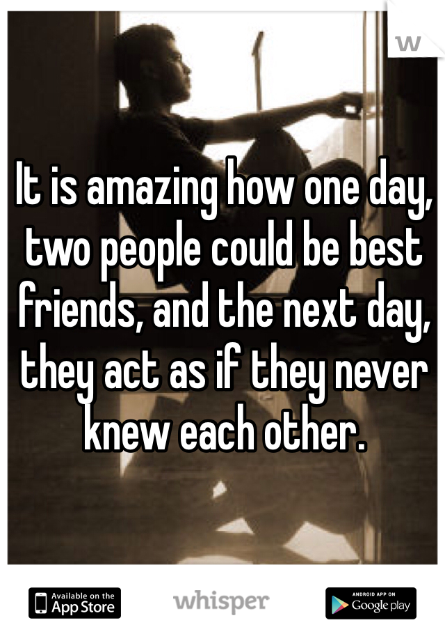 It is amazing how one day, two people could be best friends, and the next day, they act as if they never knew each other.