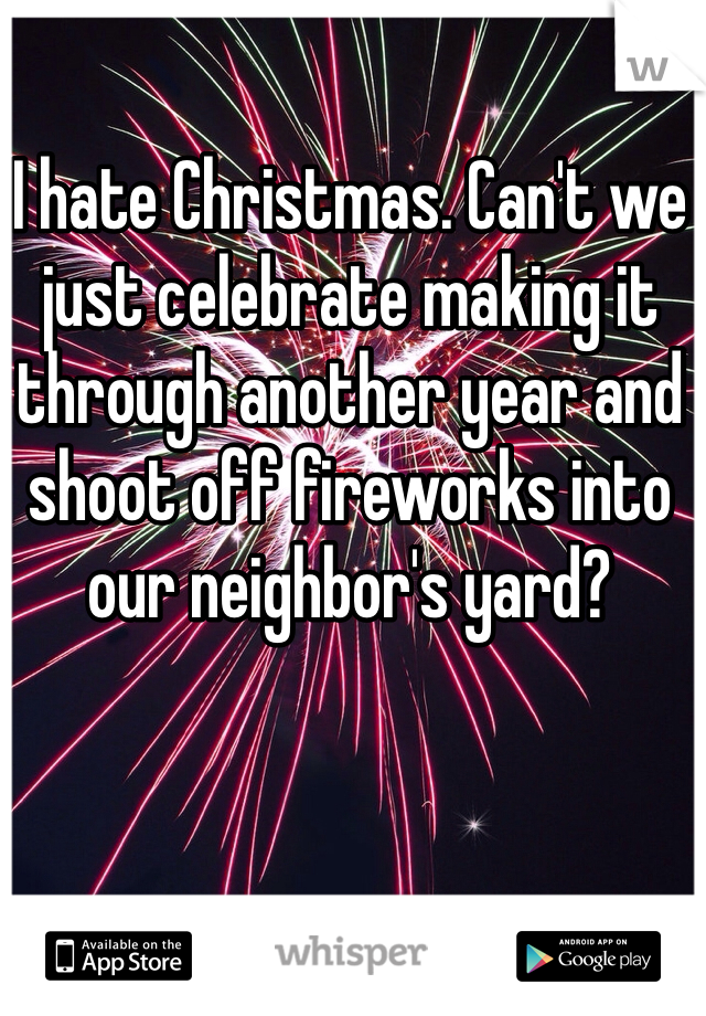 I hate Christmas. Can't we just celebrate making it through another year and shoot off fireworks into our neighbor's yard?