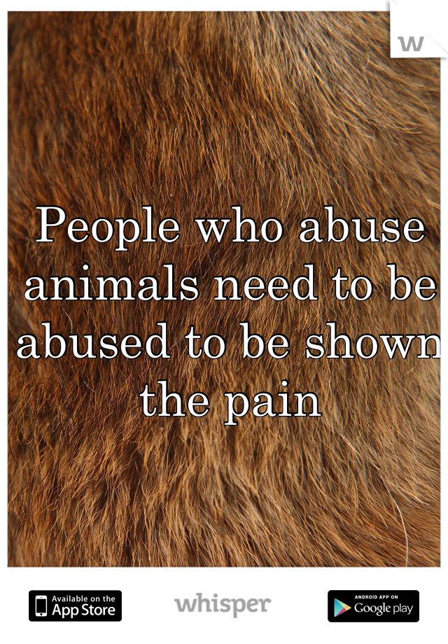 People who abuse animals need to be abused to be shown the pain
