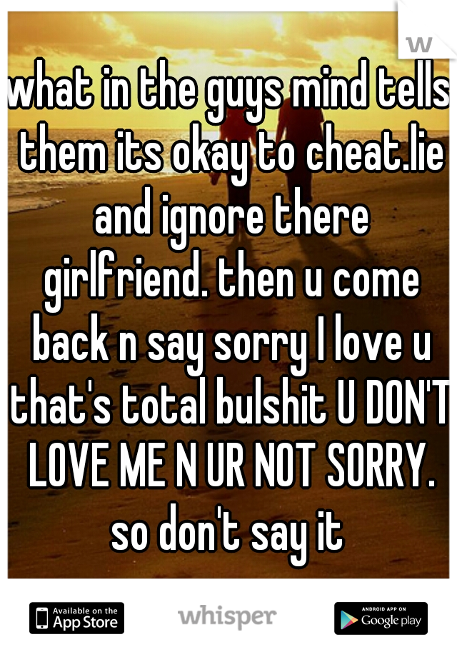 what in the guys mind tells them its okay to cheat.lie and ignore there girlfriend. then u come back n say sorry I love u that's total bulshit U DON'T LOVE ME N UR NOT SORRY. so don't say it