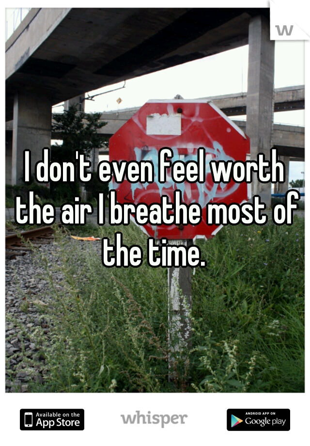 I don't even feel worth the air I breathe most of the time.