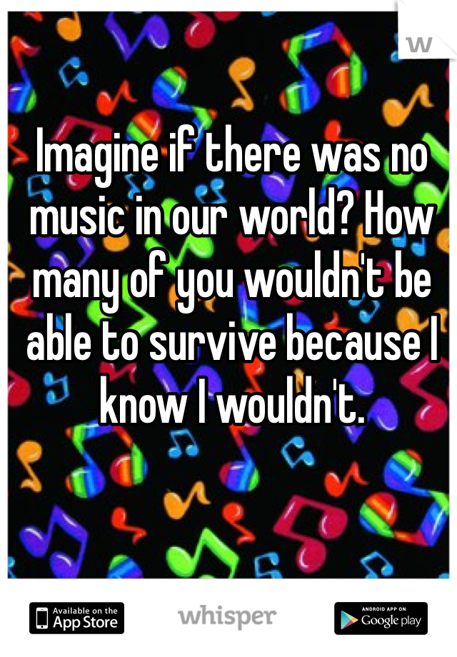 Imagine if there was no music in our world? How many of you wouldn't be able to survive because I know I wouldn't.
