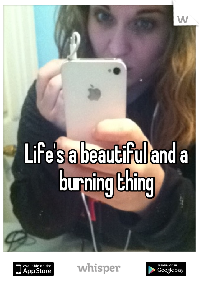 Life's a beautiful and a burning thing