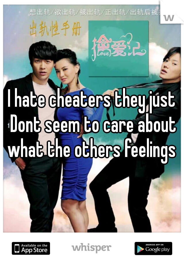 I hate cheaters they just Dont seem to care about what the others feelings