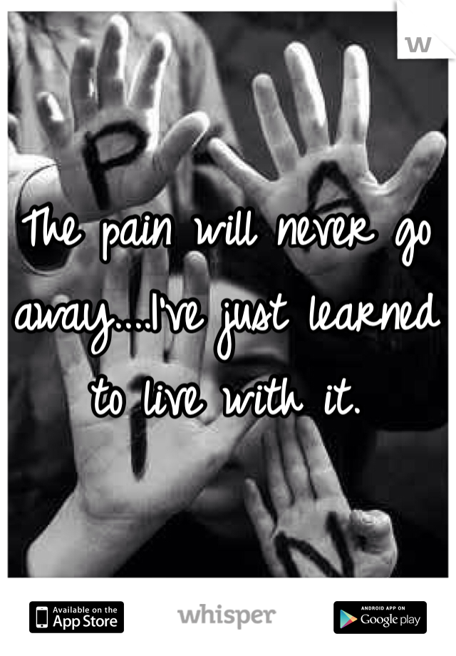 The pain will never go away....I've just learned to live with it.