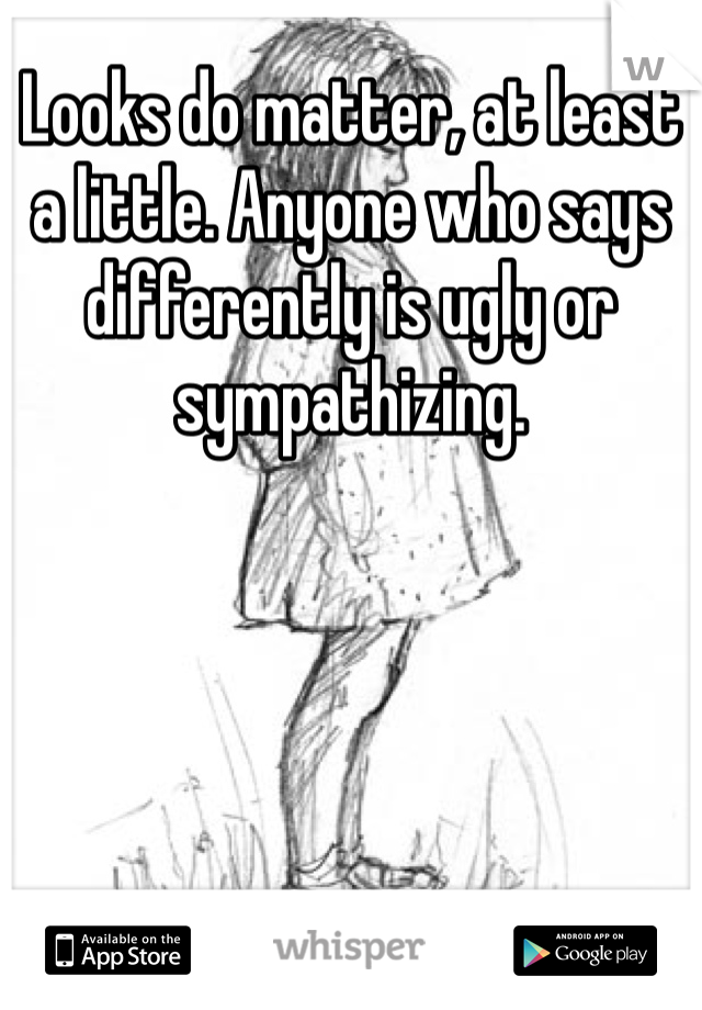 Looks do matter, at least a little. Anyone who says differently is ugly or sympathizing.