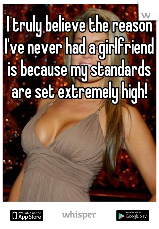 I truly believe the reason I've never had a girlfriend is because my standards are set extremely high!