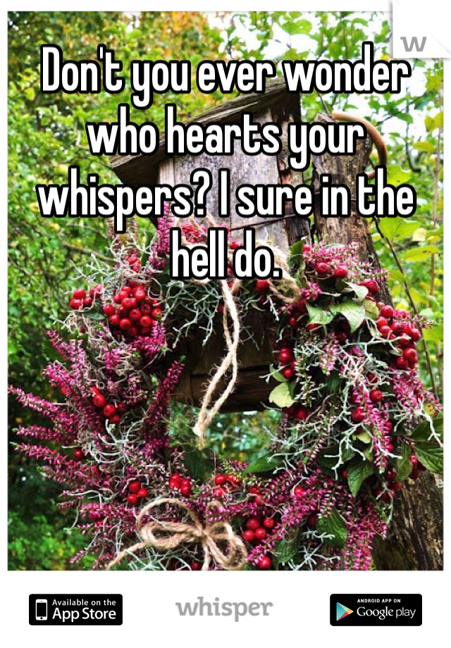 Don't you ever wonder who hearts your whispers? I sure in the hell do.