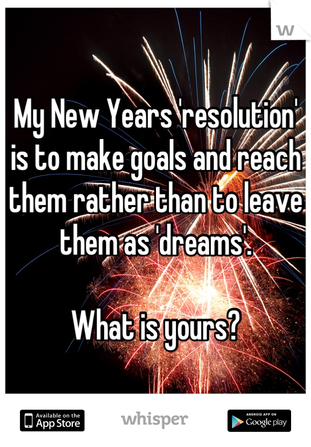 My New Years 'resolution' is to make goals and reach them rather than to leave them as 'dreams'.   What is yours?