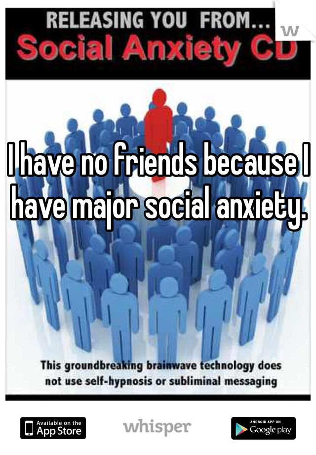 I have no friends because I have major social anxiety.