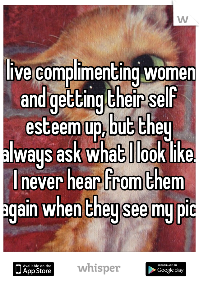 I live complimenting women and getting their self esteem up, but they always ask what I look like. I never hear from them again when they see my pic