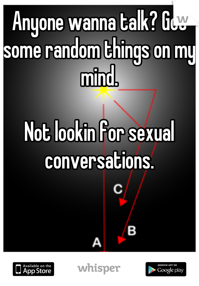 Anyone wanna talk? Got some random things on my mind.  Not lookin for sexual conversations.