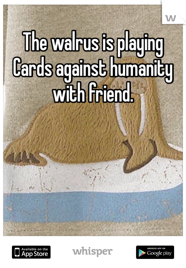 The walrus is playing Cards against humanity with friend.