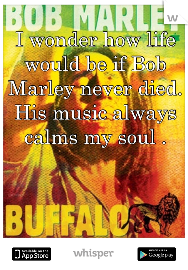 I wonder how life would be if Bob Marley never died. His music always calms my soul .