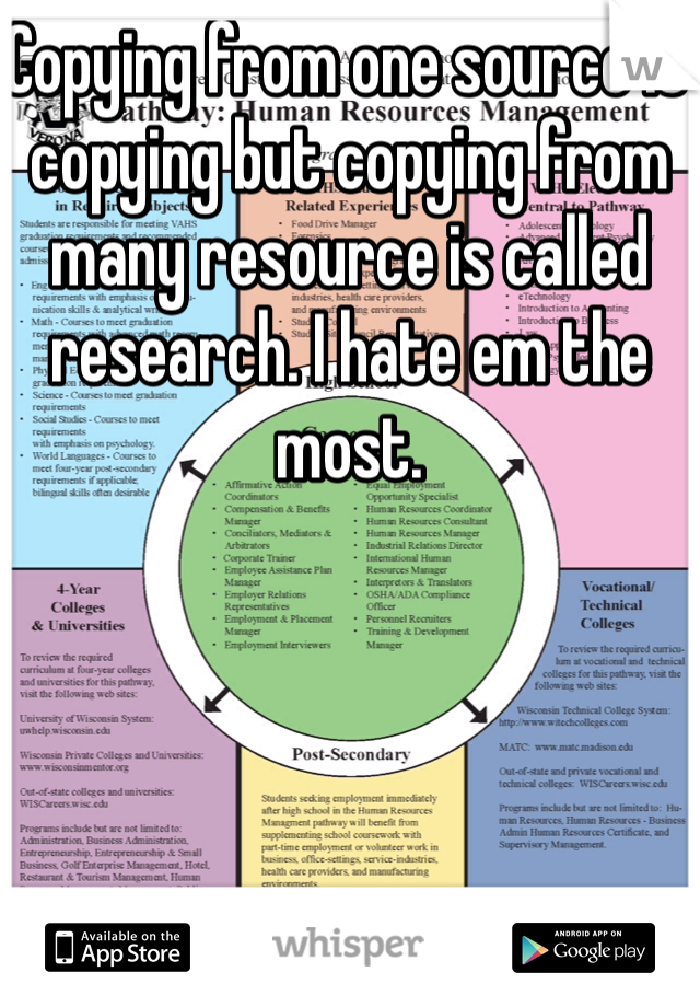 Copying from one source is copying but copying from many resource is called research. I hate em the most.