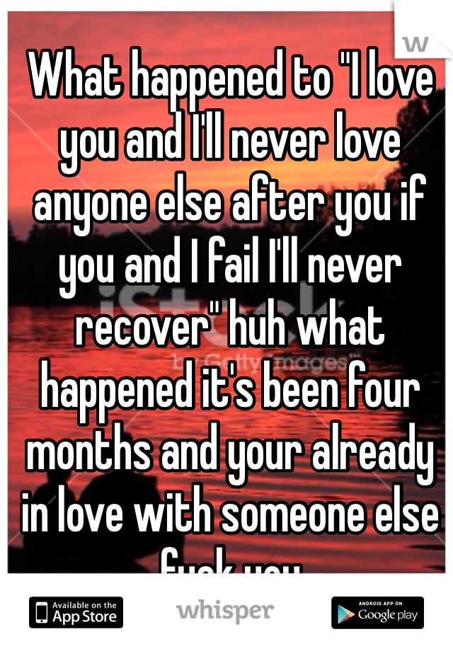 "What happened to ""I love you and I'll never love anyone else after you if you and I fail I'll never recover"" huh what happened it's been four months and your already in love with someone else fuck you"