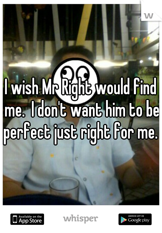 I wish Mr Right would find me.  I don't want him to be perfect just right for me.
