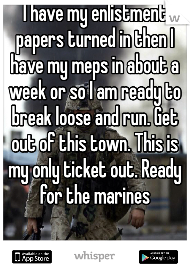 I have my enlistment papers turned in then I have my meps in about a week or so I am ready to break loose and run. Get out of this town. This is my only ticket out. Ready for the marines