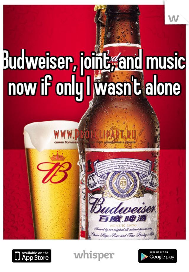 Budweiser, joint, and music now if only I wasn't alone
