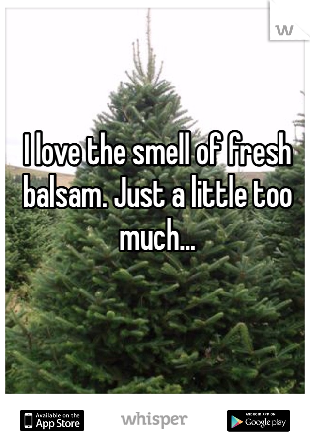 I love the smell of fresh balsam. Just a little too much...
