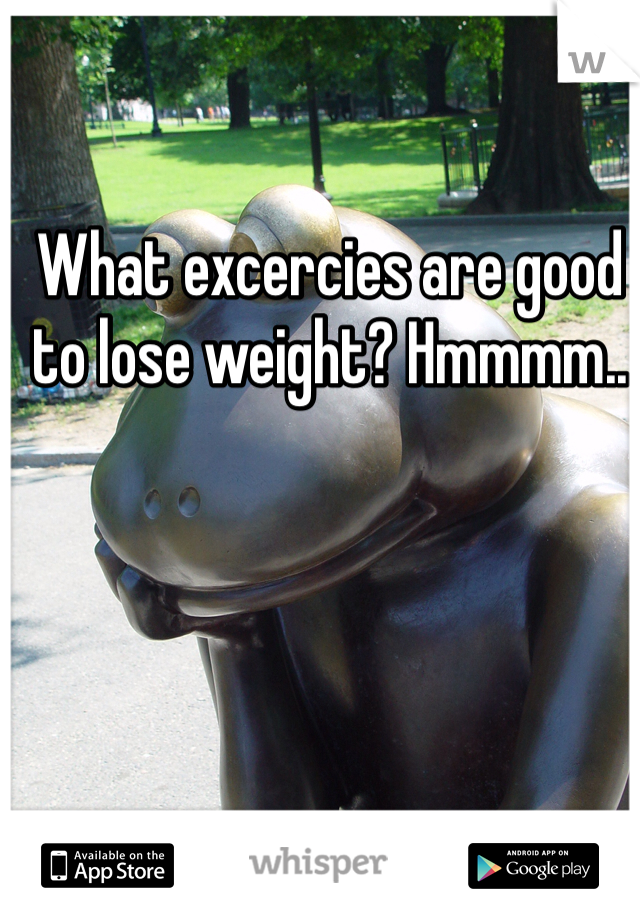 What excercies are good to lose weight? Hmmmm..