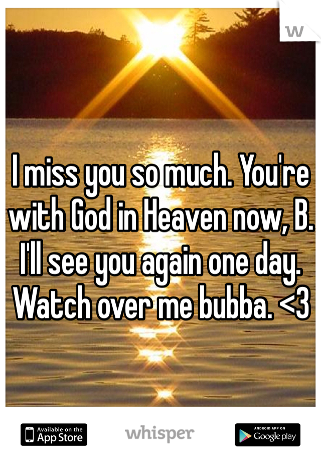 I miss you so much. You're with God in Heaven now, B. I'll see you again one day. Watch over me bubba. <3