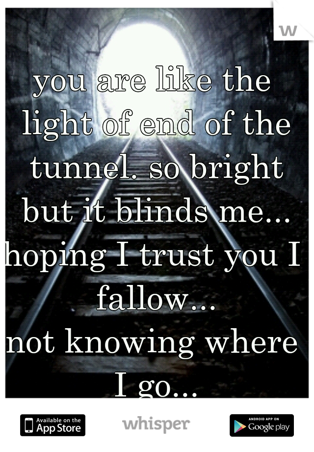 you are like the light of end of the tunnel. so bright but it blinds me... hoping I trust you I fallow... not knowing where I go...